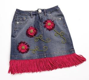 Fringed Jeans Skirt Embellishment