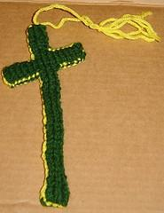 double knit cross shaped bookmark