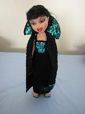 Fashion doll sequin gown and cape
