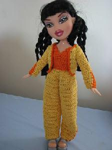 Fashion doll yellow pants outfit