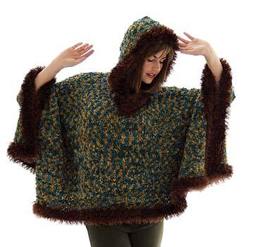 'Fur Trimmed' Boucl� Poncho