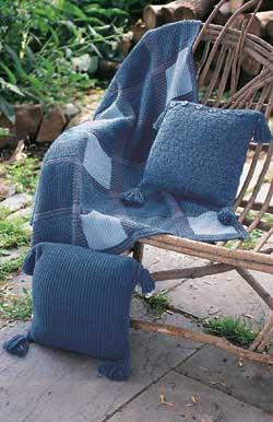 Denim Plaid Blanket And Pillows