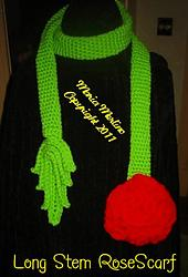 Crochet Long Stem Rose Scarf with Irish Leaf and Hyperbolic Flower Leaves