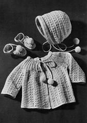 Crocheted Sacque, Cap and Bootees Set #B-636