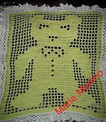 Lemony Crochet Teddy Bear Baby Afghan Crib Blanket in the Filet Extended Double Crochet Stitch Graph Chart