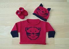 Design A - Sweater, Hat and Bootees with Cat Face