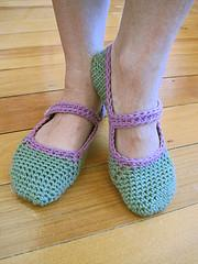 Crocheted Mary-Jane slippers