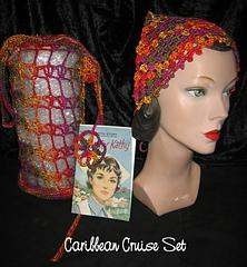 Crochet Travel Set with Head Scarf Headscarf Kerchief, Shopping Bag Travel Pillow, and Bookmark One Skein Project
