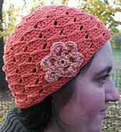 Long Double Crochet Hat with Flower