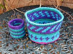 Tapestry Crochet Chunky Wool Baskets
